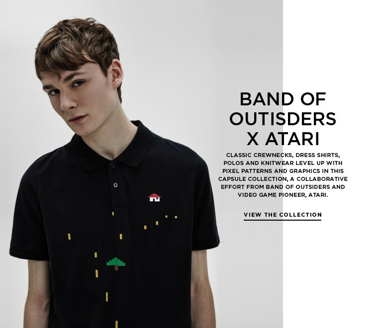 Two player: Band of Outsiders x Atari Classic crewnecks, dress shirts, polos and knitwear level up with pixel patterns and graphics in this capsule collection, a collaborative effort from Band of Outsiders and video game pioneer, Atari.
