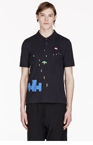 BAND OF OUTSIDERS Navy Pixel Print Atari Edition Polo for men
