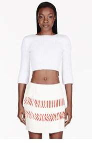 MAIYET White Cropped Open Back Sweater for women