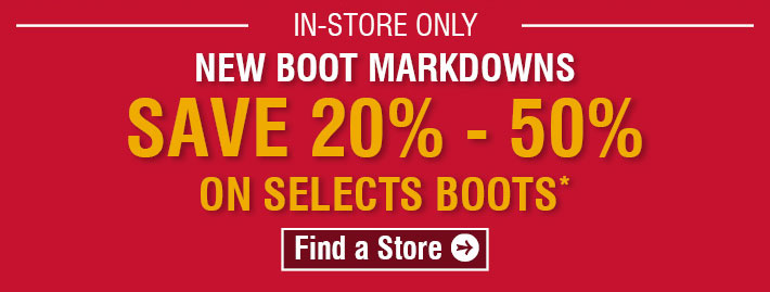New Boot Markdown - Save 20%-50% On Select Boots
