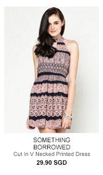 SOMETHING BORROWED Cut In V Necked Printed Dress