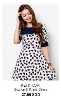 KEI&KORI Scallop & Prints Dress