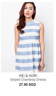 KEI&KORI Striped Chambray Dress