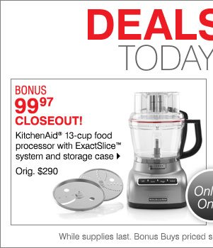 BONUS 99.97 Closeout! KitchenAid® 13-cup  food processor with ExactSlice™ system and storage case Orig. $290