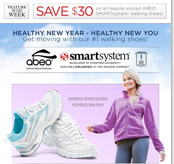 NEW Feature of the Week: Get moving in the comfort ABEO SMARTsystem®, our #1 walking shoes for women and men!* Developed at Stanford University, save $30 on all regular-priced styles online and in-stores at The Walking Company.