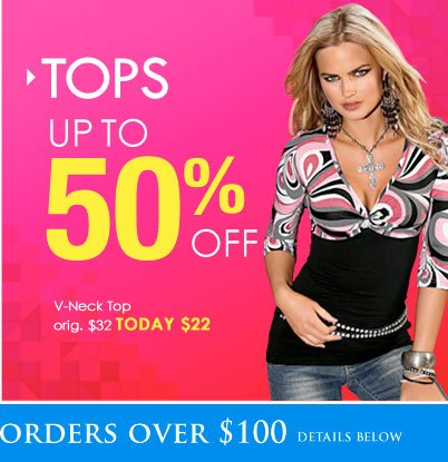 SHOP Tops UP TO 50% OFF!