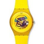 Swatch SUOJ100 Unisex Lacquered 2012 Spring Summer Large Yellow Plastic Skeleton Dial Swiss Watch