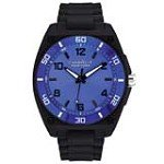 Caravelle 45A116 Mens New York Blue Dial Black Plastic Rubber Strap Watch