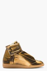 MAISON MARTIN MARGIELA Copper Glossy Vinyl High-Top Sneakers for men