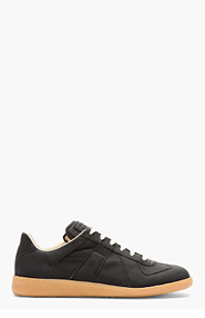 MAISON MARTIN MARGIELA Black Matte Leather Replica Sneakers for men