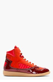MAISON MARTIN MARGIELA Red Leather Panelled High-Top Sneakers for men
