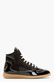 MAISON MARTIN MARGIELA Black Leather Panelled High-Top Sneakers for men