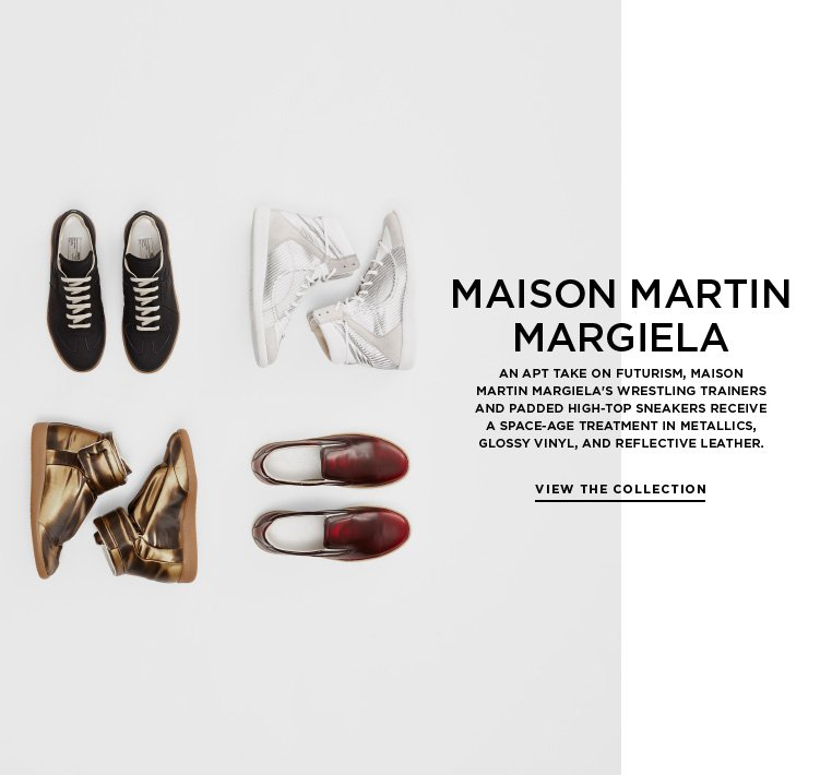 Futurist footwear from Maison Martin Margiela An apt take on futurism, Maison Martin Margiela's wrestling trainers and padded high-top sneakers receive a space-age treatment in metallics, glossy vinyl, and reflective leather.