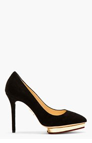 CHARLOTTE OLYMPIA Black Suede Pointed Debbie Pumps for women