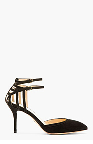 CHARLOTTE OLYMPIA Black Suede Spider-Web Aranea Strapped Heels for women