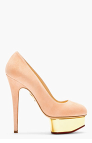 CHARLOTTE OLYMPIA Blush Suede Platform Dolly Pumps for women