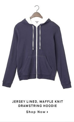 JERSEY LINED, WAFFLE KNIT DRAWSTRING HOODIE - Shop Now