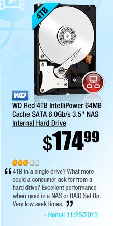 """WD Red 4TB IntelliPower 64MB Cache SATA 6.0Gb/s 3.5"""" NAS Internal Hard Drive. 4TB in a single drive? What more could a consumer ask for from a hard drive? Excellent performance when used in a NAS or RAID Set Up. Very low seek times. Large 64MB DRAM Cache. Drive speeds do fluctuate with use, but remain consistent during usage."""
