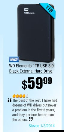 WD Elements 1TB USB 3.0 Black External Hard Drive. The best of the rest. I have had dozens of WD drives but never a problem in the first 5 years, and they perform better than the others.