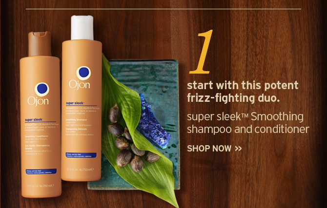 1  start with this potent frizz fighting duo super sleek Smoothing shampoo  and conditioner SHOP NOW