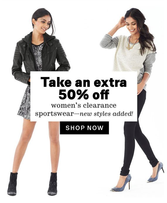 Take an extra 50% off women's clearance sportswear-new styles added! Shop Now