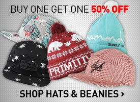 Hats + Beanies Buy One Get One 50% Off