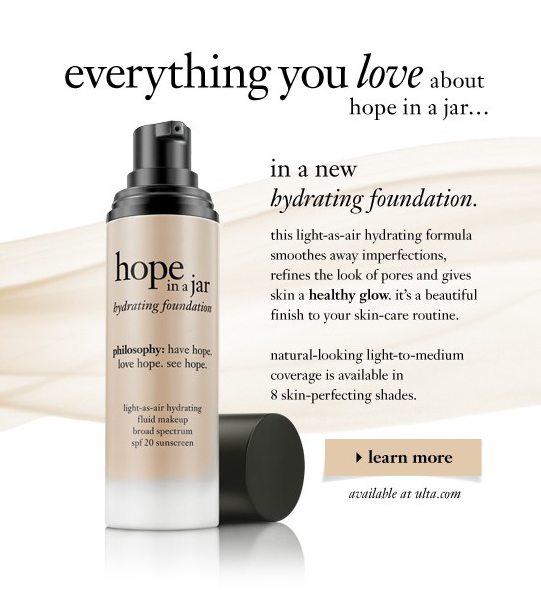 everything you love about hope in a jar...in a new hydrating foundation. the lightweight texture features light-reflecting pigments that instantly smooth away imperfections. It's a beautiful finish to your skin-care routine. dehydrated skin looks smooth, bright and refined. learn more