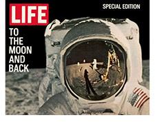 TO THE MOON AND BACK, REFLECTIONS ON ASTRONAUTS FACEMASK, AUGUST 11, 1969 - Life Magazine Cover