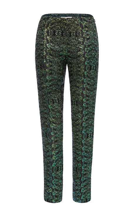 Bottle Green Iridescent Cloque Pants
