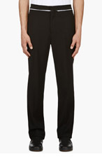 VERSUS Black Pleated Belt Detail Trousers for men