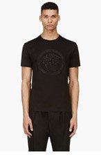 VERSACE Black Embellished Medusa T-Shirt for men