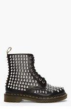 DR. MARTENS Black Leather Studded 8-Eye Boots for men