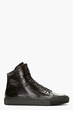 SILENT BY DAMIR DOMA Black Leather Angled Throat High-Top Sneakers for men