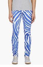 VERSUS White & Blue Zebra Print J.W. Anderson Edition Jeans for men