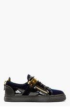 GIUSEPPE ZANOTTI Navy Velvet Low-Top Sneakers for men
