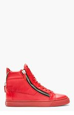 GIUSEPPE ZANOTTI Red Leather High-Top Sneakers for men