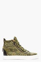 GIUSEPPE ZANOTTI Green Embossed BIREL High Top Sneakers for men