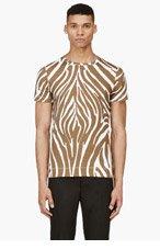 VERSUS White & Umber Zebra Print T-Shirt for men