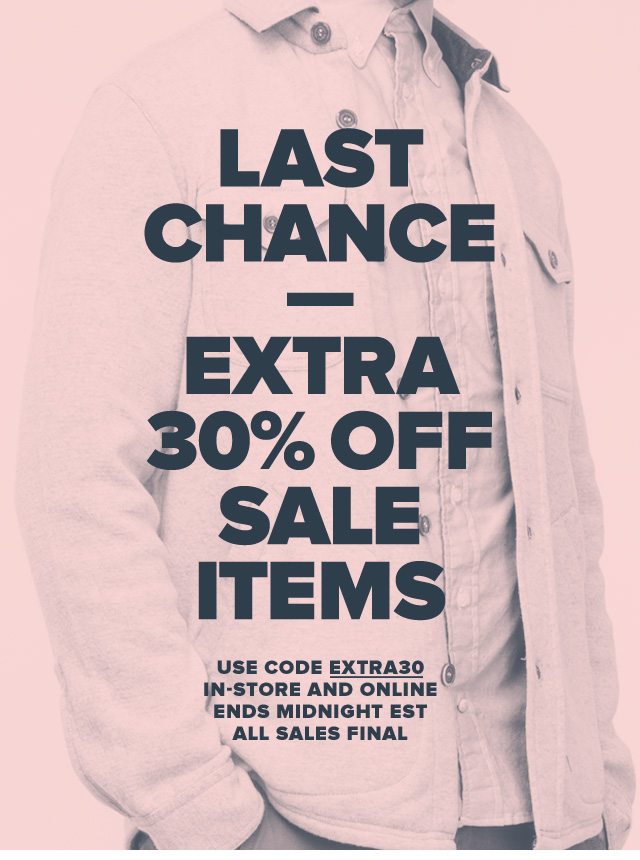 Last Chance—Extra 30% Off Sale Items