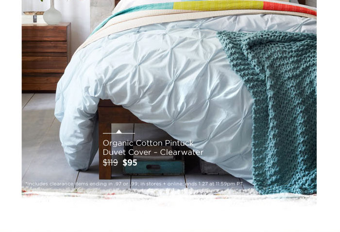 Organic Cotton Pintuck Duvet Cover - Clearwater