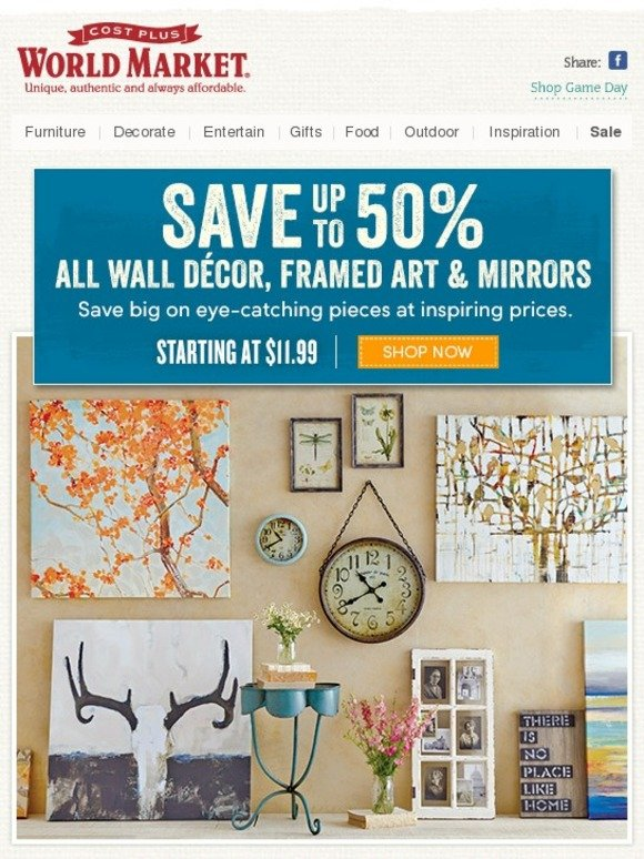 Cost Plus World Market: Up to 50% off ALL Wall Decor, Framed Art and ...