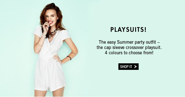 Playsuits.The easy Summer party outfit - the cap sleeve crossover playsuit. 4 colours to choose from! Shop it.