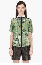 OSTWALD HELGASON Green silk crepe vine print blouse for women
