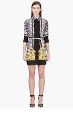 VERSACE Black & gold silk mixed check print dress for women