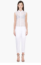 RICHARD NICOLL White Semi-Sheer Python Print Jumpsuit for women