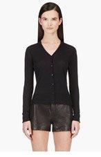 CALVIN KLEIN COLLECTION Black Fine-Knit Cardigan for women