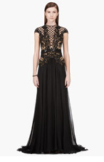 ZUHAIR MURAD Black Bead & Sequin Bodice Cap Sleeve Gown for women