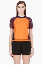 KENZO Orange silk & camel textured Knit Top for women