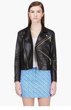 KENZO Black Leather K-zip Biker Jacket for women