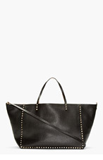 VALENTINO Black Reversible Leather Studded Tote for women